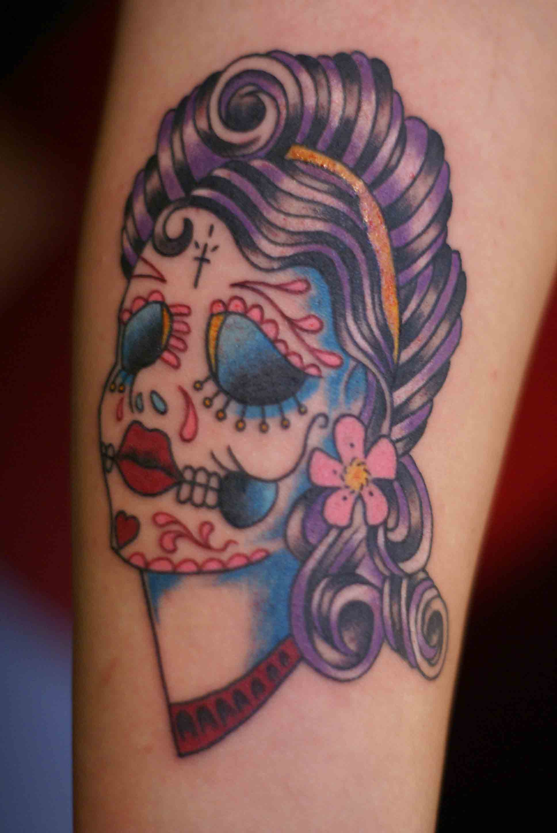 Sugar Skull Pin Up http://haightashburytattooandpiercing.com/2009/08/04/sugar-skull-pin-up/